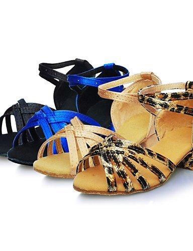 ShangYi Chaussures de danse ( Noir / Bleu / Marron / Léopard ) - Non Personnalisables - Talon Bas - Satin - Latine Black