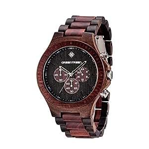 Greentreen orologi legno orologio uomo disegno for Orologio legno amazon
