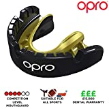 Opro Unisex's Braces Sports Mouthguard, Black/Gold, Ages 7+