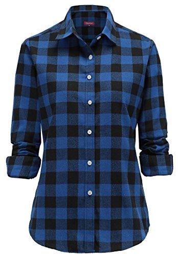 Dioufond Classics Damen Slim Kariert Langarm Bluse Freizeit Hemd Longshirt Baumwolle Button-Down Tunika (Tag XXL-EU 42, Blau)