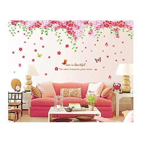 Kuke Wandtattoo Große Rosa Romantische Kirschblüte Blume mit Schmetterling Abnehmbare DIY Wand-Aufkleber Wandsticker für Kinder Mädchen Kinderzimmer (237 * 92cm) (Mädchen Baum-wand-aufkleber)