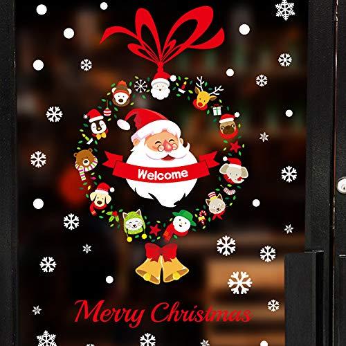 YSQLLA Marke Home Decor Aufkleber Anhänger Neujahr Weihnachten Festival Glas Fenster Wandaufkleber Schneemann Kranz Weihnachtsmann Aufkleber