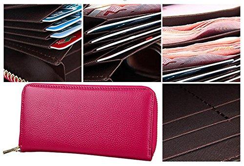 DcSpring Protezione RFID Portafoglio in Vera Pelle Pochette Grande Capacità Porta carte di credito Lungo Elegante Cerniera per Donna Rosso