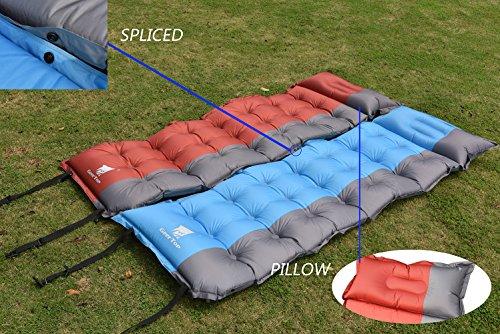 GEERTOP Selbstaufblasbare Camping Luftmatratze Tragbare Isomatte 5cm Extradick 1 Personen - 193 x 63 x 5 cm (1,5kg) - Matratze/Matte/Unterlage mit Kopfkissen selbstaufblasend für Camping (Rot-1) -