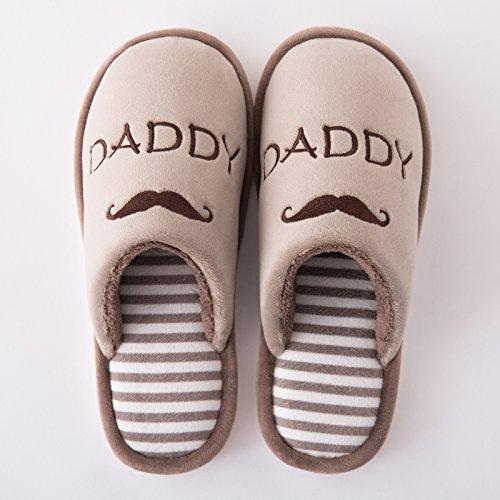 DogHaccd pantofole,Il cotone pantofole borsette con coppie di spessore invernale di peluche peluche maschio pantofole home pavimentazione antiscivolo in cotone indoor trascinare Il caffè
