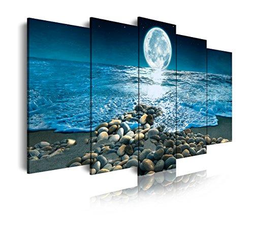 DEKOARTE 400 - Cuadro moderno en lienzo de 5 piezas, playa de noche con luna, 150x80cm