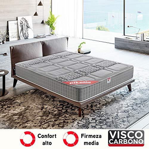 PIKOLIN, Colchón viscoelástico carbono de gama alta, 150x190, máxima calidad y confort, firmeza media...