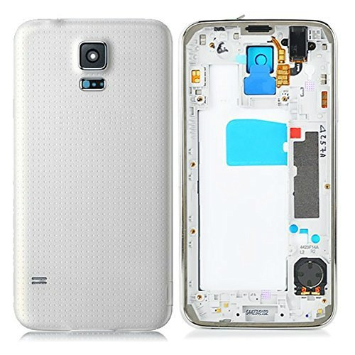 Ekon Housing Body Panel For Samsung Galaxy S5 With Charging Port Cover + Camera lens - White