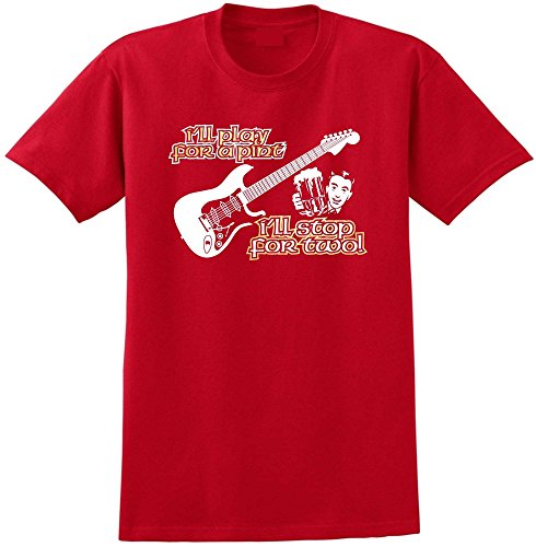MusicaliTee Electric Guitar Play for A Pint - Red Rot T Shirt Größe 87cm 36in Small Smith Slider
