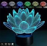 Pianta Lotus loto lampada led 7 colori complemento arredo casa home Idea regalo Design a batteria + cavo micro USB da tavolo o scrivania Decorazione della casa Night Light