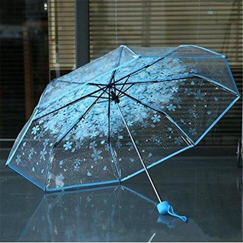 samLIKE Regenschirm,Transparenter klarer Regenschirm Kirschblüten Pilz Apollo Sakura 3 Falten Regenschirm (Blau)