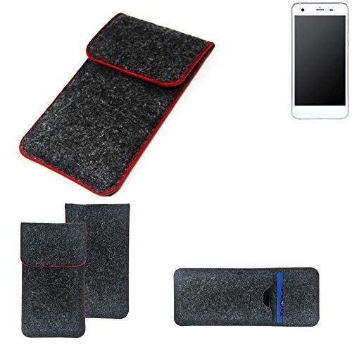 K-S-Trade® Filz Schutz Hülle Für -Vestel V3 5570- Schutzhülle Filztasche Pouch Tasche Case Sleeve Handyhülle Filzhülle Dunkelgrau Roter Rand