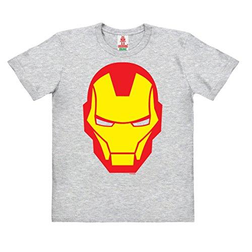 Logoshirt Marvel Comics - Iron Man Icon Kinder Organic T-Shirt - grau-meliert - Bio Baumwolle - Organic Cotton - Lizenziertes Originaldesign, Größe 152, 11-12 Jahre