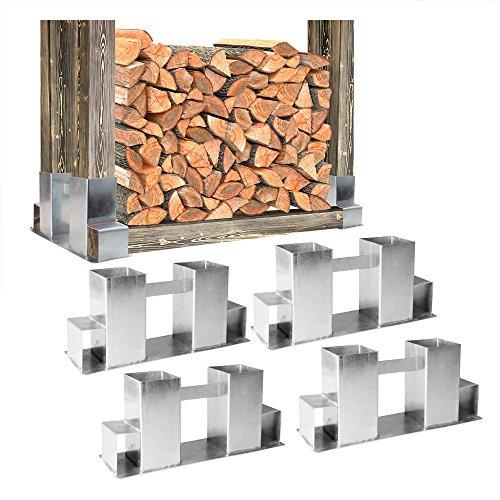 Preisvergleich Produktbild 4x Stapelhilfe Kamin Brennholz Holz Holzstapel Feuerholz Holzstapelhilfe feuerverzinkter Stahl witterungsbeständig