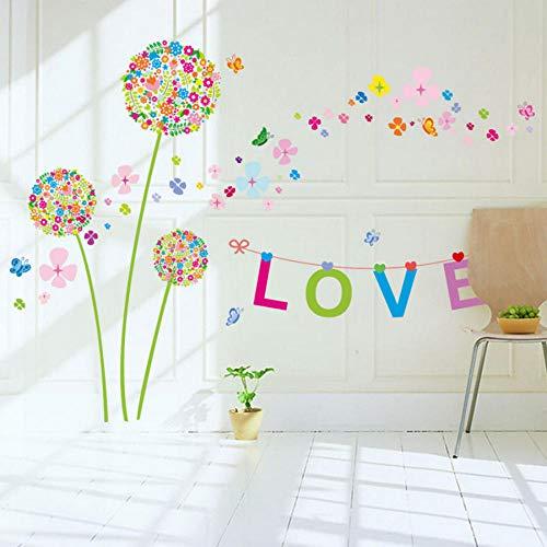 rbe Löwenzahn Wandaufkleber Romantik Dekoration Wand Poster 60 * 90 Cm Wohnkultur Blume Wandtattoos Liebe ()