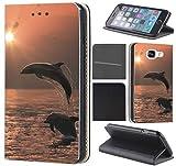 CoverFix Premium Hülle für Samsung Galaxy A5 (Modell 2017) A520 Flip Cover Schutzhülle Kunstleder Flip Case Motiv (1028 Delfin Delphine Sonnenuntergang)