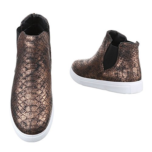 Ital-Design Chelsea Boots Damen Schuhe Chelsea Boots Moderne Stiefeletten Bronze X-37