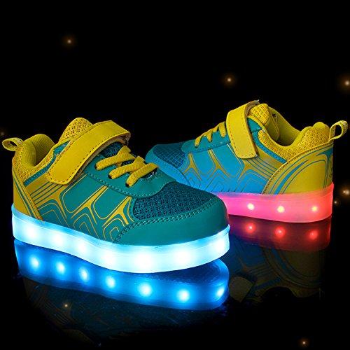 SGoodshoes Unisexe Enfants Baskets Lumineuses Led Chaussures USB Recharge Led Sneakers Garçon Fille Jaune