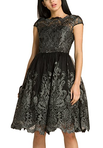 Brinny Rétro Broderie Femme Robe de soirée Ajouré Dentelle Irrégulier volanté élégante Dress Pour Cocktail Rockabilly Mariage Pur Noir
