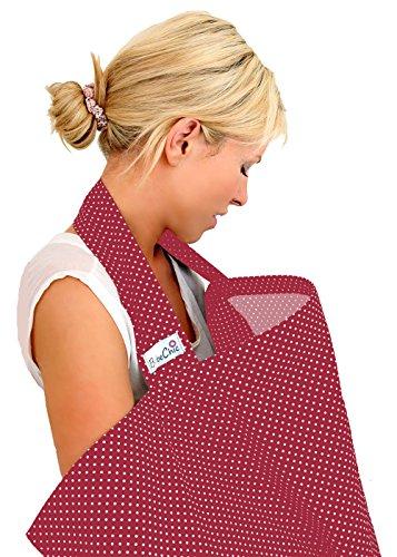 BébéChic * 100% Coton de qualité supérieure * Couvertures d'allaitement * Vêtements d'allaitement avec armatures - avec sac de rangement - rouge vin / pois blancs