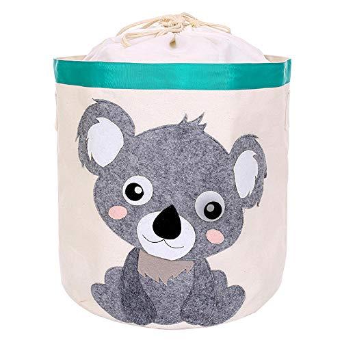 CYACC Faltbare Canvas-Box mit Deckel Wäschekorb Aufbewahrungsbox Toy Orgnizer Waschkorb Kleidung Kleinigkeiten Korb Candy Color @ Koala_45cm_x_43cm (Dvd-inhaber Reisen)