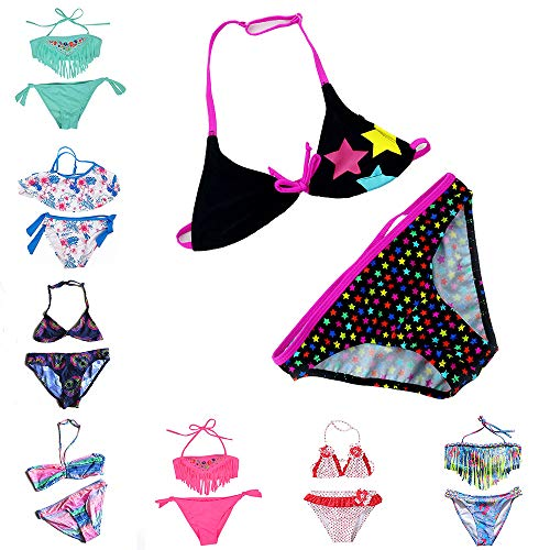 IPBEN Badeanzug Mädchen, Schlinge Bikinis für Kindere Zweiteiliger Quaste Badekleidung Schwimmanzug Bikini Sets (128, rosa Sterne)
