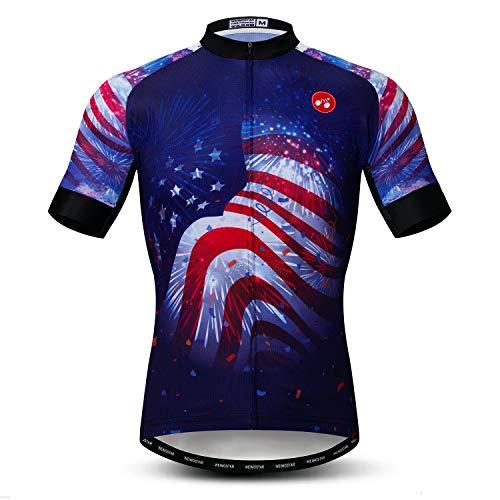 Weimostar Radfahren Jersey Herren Radfahren Kleidung Fahrrad Jersey Top Mountain Road MTB Jersey Shirt Kurzarm Atmungsaktive Team Sport USA Blau Größe L