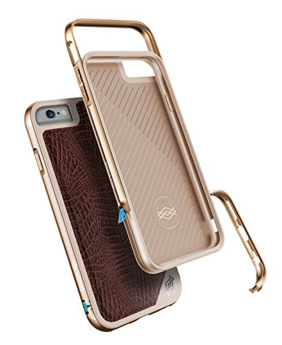 X-Doria Defense Lux Rugged [Military Grade Tropfen Schutz] TPU Gehäuse mit Aluminium-Schienen-Stoßkasten für iPhone 6s plus & iPhone 6 Plus (5,5 Zoll) (Brown Croc) Brown Croc