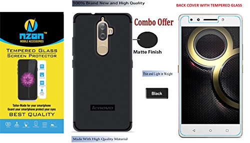 Lenovo K8 Plus Back Cover And Tempered Glass Combo [Plain] [Slim] [Lining] [Candy] [Soft] [Mate] Back Cover for Lenovo K8+ / Plus - Black  available at amazon for Rs.499