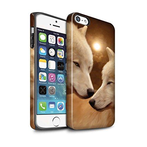 Officiel Elena Dudina Coque / Matte Robuste Antichoc Etui pour Apple iPhone 5/5S / Jacinthe Design / Les Animaux Collection Loups Blancs