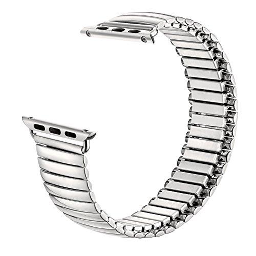 tolulu Gummiband für iWatch Apple Armbanduhr Serie 38mm 42mm Ersatz-Band Armband Strap Expansion Flex Edelstahl Link Bands, mehrfarbig
