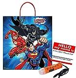 Justice League–Batman, Superman & The Flash. de taille moyenne Halloween Trick Treat Candy Butin Sac. Plus la sécurité Autocollant et mini Halloween lampe de poche Collier.