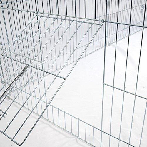 Freigehege Laufstall Gehege Kleintiergehege Welpenauslauf mit Ausbruchsperre 220 x 103 x 103 cm, mit Abdeckung, inkl. Sonnenschutz, Verzinkte Ausführung HT2067m1 - 7