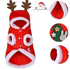 Fuitna Costume pour Animaux Noel de Compagnie Santa Costume pour Animaux de Compagnie avec imprimé Couvre-Chef Elk - Mignon Chien de Noël à Capuche Manteau Molleton Chaud pour Noël Habiller