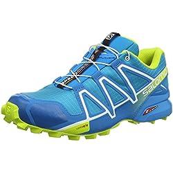 Salomon Speedcross 4, Zapatillas de Trail Running para Hombre, Azul (Hawaiian Surf/Acid Lime/White), 41 1/3 EU