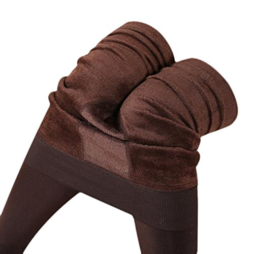 Fulltime® Les Femmes Hiver épaisse Toison Chaude Doublée Thermiques Leggings Pantalons extensibles Café