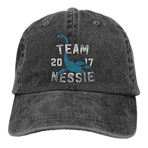 j65rwjtrhtr Men's Or Women's Adjustable Yarn-Dyed Denim Baseball Kappen Team Nessie 2017 Hiphop Cap