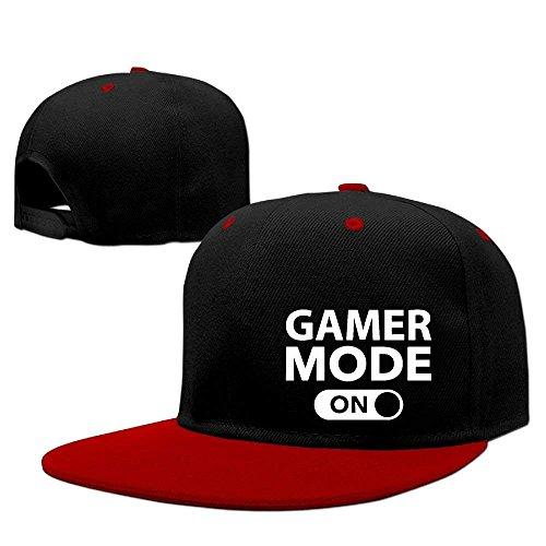 fboylovefor Gamer Mode on Hip Hop Baseball Caps Breathable Flat Bill Plain Snapback Hats Red