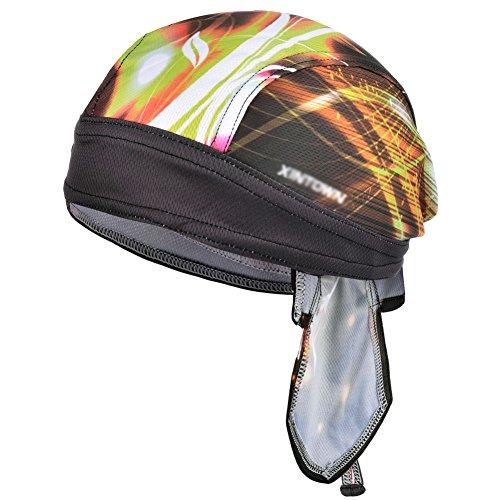 VBIGER Bandana Cap Sommermütze Bandana Kopftuch Atmungsaktive Fahrrad Kopfbedeckung (Schwarz Auf Schwarz Bandana)
