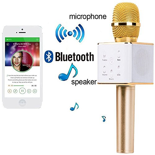 Karaoke New Q7 Microphone Wireless, Portable Handheld Singing Machine Condenser Microphones Mic And Bluetooth Speaker Compatible with iPhone/ iPad/ iPod/ and all android smartphones by Rkaddiction