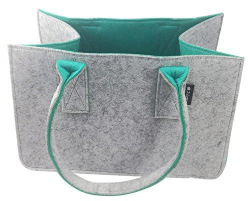 Shopping Bag aus Filz, große Einkaufs-Tasche mit Henkel, Einkaufskorb, faltbare Kaminholztasche zur Aufbewahrung von Holz, vielseitige Tragetasche auch für Spielzeug, Farbe grau/türkis