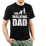 Shirtinator Lustiges T-Shirt für Herren Männer | Geschenk für (werdenden) Papa | The Walking Dad | Original (Schwarz, L)
