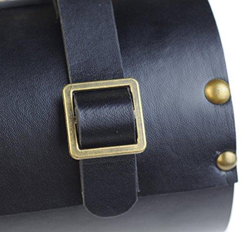 Vintage Bike Zylindrische Sitz Sattel Front-Griff Bar Tasche Packungen schwarz braun - Black- PU