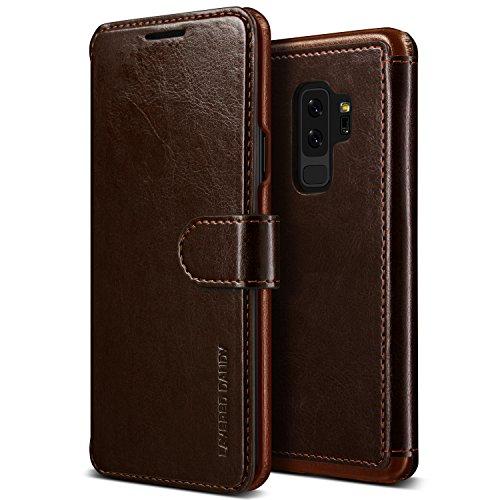 Coque Samsung Galaxy S9 Plus, Étui pour téléphone en cuir VRS DesignMD [Marron foncé] Étui en cuir PU de qualité supérieure | Housse de protection pour 3 cartes Flip [Layerd Dandy] pour Samsung S9 Plus