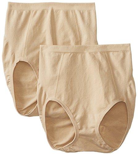 Bali Women's Shapewear Seamless Brief Ultra Control 2-Pack, Nude, Medium (Shapewear-body Bali)