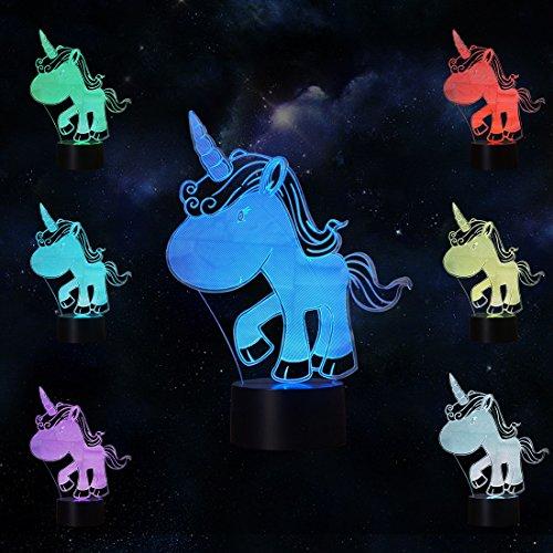 LeKong Einhorn Toy Nachtlicht für Kinder 3D-Illusion, USB-Stecker in, Touch Control, Geschenk für Eltern & Erwachsene, Fit für Schlafzimmer Innendekorationen (Halloween Innendekorationen)