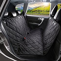 Dog Car Seat Cover, SHINE HAI Waterproof & Scratch Proof & Nonslip Back Seat Cover, Dog Travel Hammock with Seat Anchors, Machine Washable, Durable, Universal fits All Cars, Pet Cover(Black)