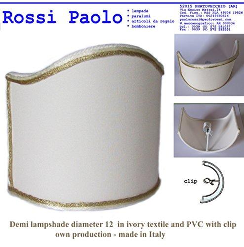 Mittel Lampenschirm cm 12 in Stoff Elfenbein mit PVC laminiert - Eigenproduktion - Made in Italy (zwei Stücke) (Laminiert Pvc)