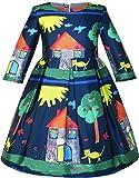 Sunny Fashion Robe Fille Maison Arbre Imprimer Dessin animé Longue Manche Hiver Habiller 6 ans