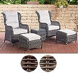 CLP Polyrattan Sitzgruppe Treviso V2 inkl. Polsterauflagen l Garten-Set: Zwei Sesseln, Zwei Hockern und EIN Beistelltisch l erhältlich Grau Meliert